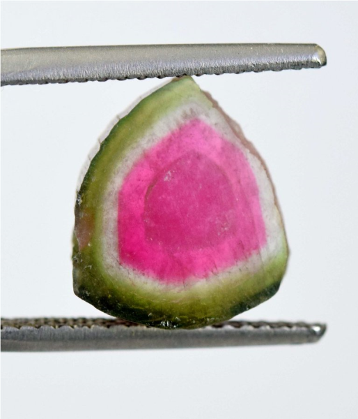 MP02-307 , 7.10 cts Top Quality Both Sides Polished Natural Watermelon Tourmaline Slice - 13*12*05 mm