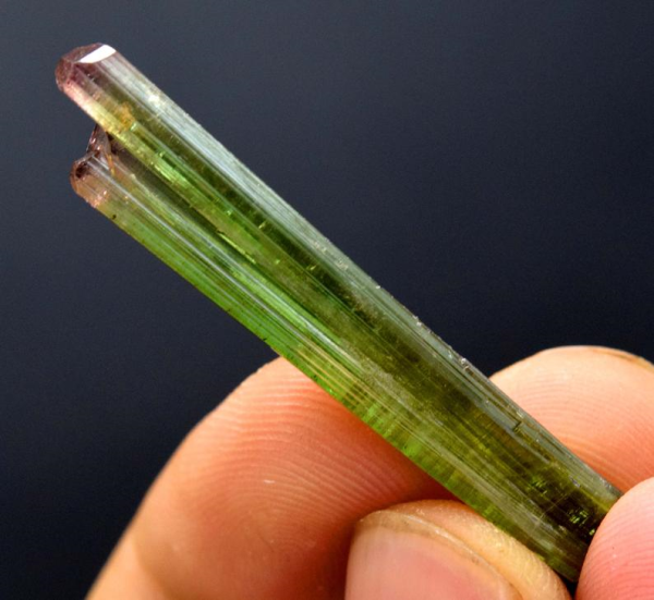 MP01-180 , 17.05 cts Terminaed & Undamaged Bi Color Tourmaline Crystal From Paprok - 45*8*6 mm