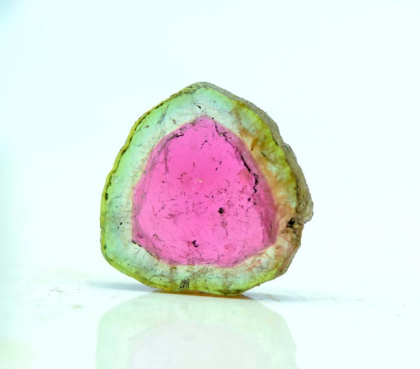 MP02-40 , 9.45 ct Perfectly Shaped Watermelon Tourmaline Slice from Paproke Afghanistan - 15*15*03 mm