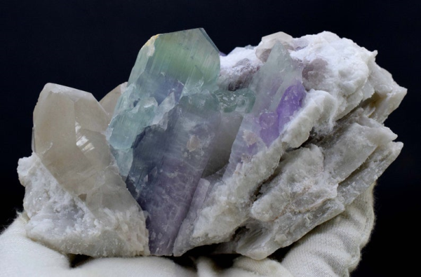 965 Gram Terminated Natural Bi Color Kunzite Specimen with Quartz on Matrix from Nuristan Afghanistan