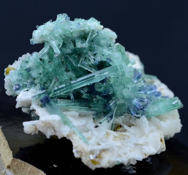 57 Gram Blue Cap Tourmaline Crystals with Orange Microlite & Cleavlandite Albite