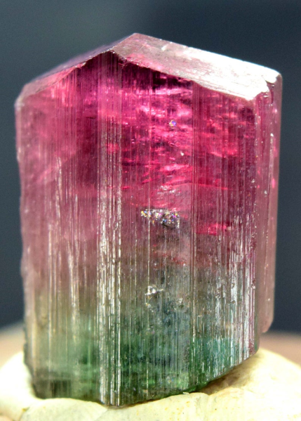 MP01-352 , 59.60 Carats Terminated Bi Color Natural Tourmaline Crystal from Afghanistan - 25*18*14 mm