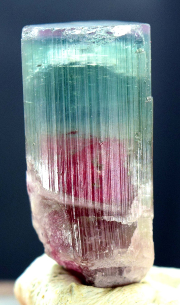 MP01-303 , 98.60 carats Terminated Tri Color Natural Tourmaline Crystal from Afghanistan - 38*16*16 mm