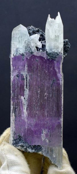 246 Gram Double Terminated Natural Bi-Color Kunzite Crystal With Tourmaline Spray And Matrix from Nuristan Afghanistan - 136*50*29 mm