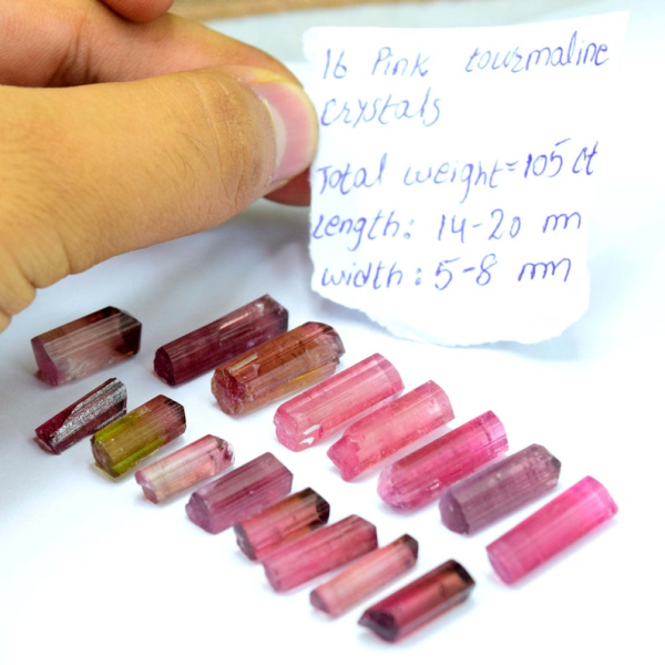 MP01-272 105 carats Terminated Natural Gemmy Rubelite Pink Tourmaline Crystals Lot from Paproke Afghanistan
