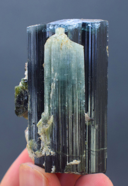 106 Gram Terminated & Undmaged Blue Cap Tourmaline Crystal with Aquamarine Crystals - 62*35*31 mm