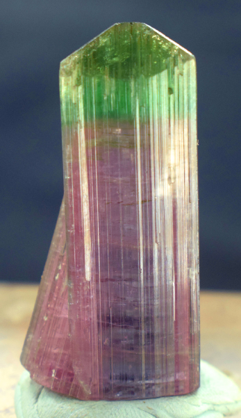 17 gram Terminated Bi Color Tourmaline Crystal from Nuristan Afghanistan - 39*15*14 mm