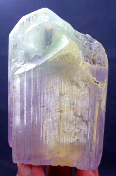 Kunzite Crystal , Terminated and Damage Free Kunzite Tri Color Crystal from Nuristan Afghanistan - 361 Gram , 98*57*32 mm