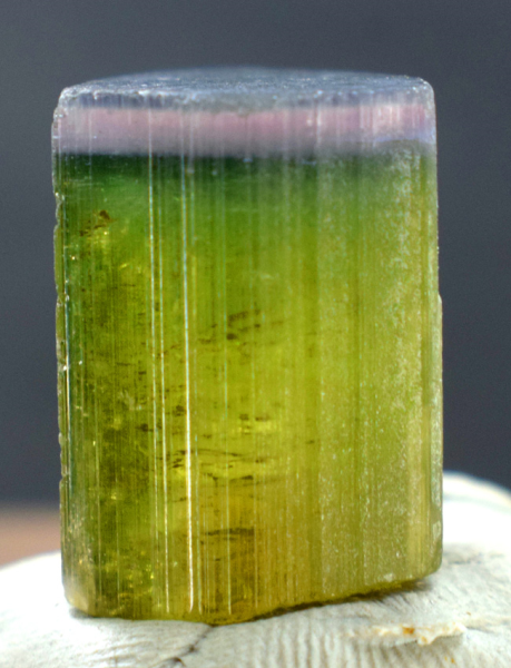 Tourmaline Crystal , Natural Terminated Blue Cap Tri Color Tourmaline Crystal from Paprok  - 28.75 cts, 18*12*12 mm