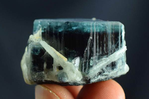 Tourmaline Specimen , Blue Cap Tourmaline Crystal with Cleavlandite from Paprok Afghanistan - 43 Gram , 36*33*23 mm