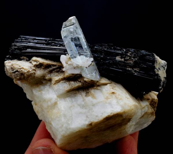 Aquamarine Specimen , Damage Free Natural Aquamarine Crystal with Schrol and Feldspar - 168 Gram , 76*50*55 mm