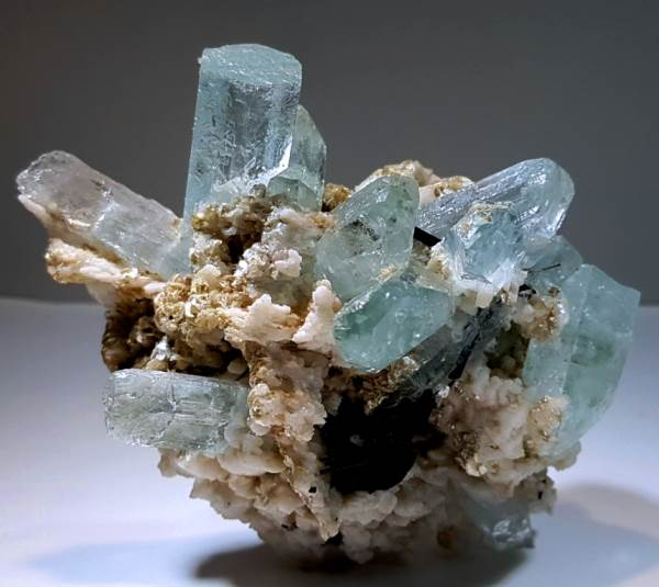 Aquamarine Crystals with Black Tourmaline , Mica and Feldspar Specimen - 127 Gram , 85*55*30 mm