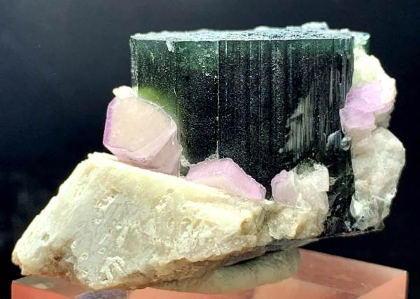 Blue Green Cap Tourmaline Crystals with Fluorapatite / Fluorescent Apatite and Feldspar from Paprock Afghanistan - 85 gram , 51*37*31 mm