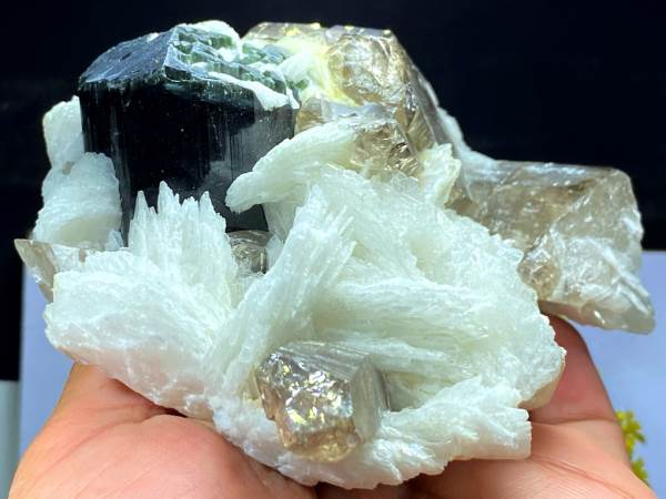 Blue Cap Tourmaline Crystal with Albite and Smoky Quartz from Paprok Afghanistan - 847 Gram , 142*112 mm