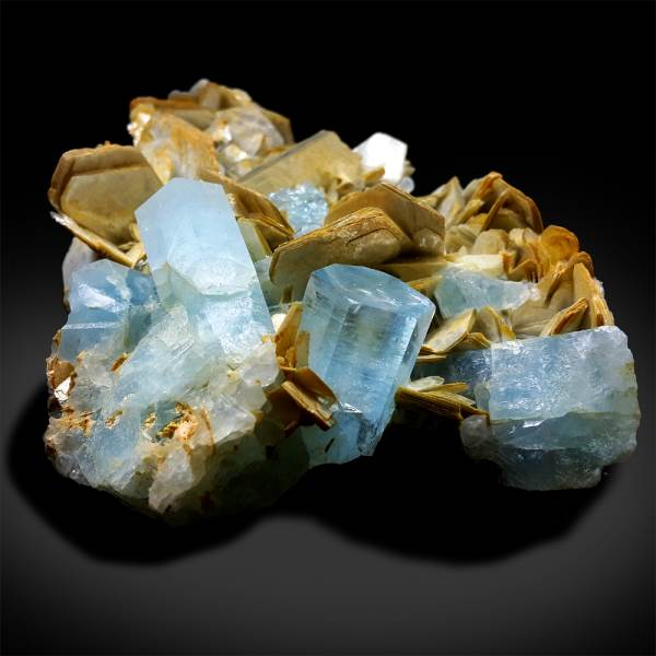 Aquamarine Crystals with Mica Mineral Specimen from Pakistan - 446 g , 113*96 mm