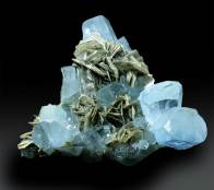 Aquamarine Crystals Cluster with Mica Mineral Specimen from Pakistan - 171 g , 78*74 mm