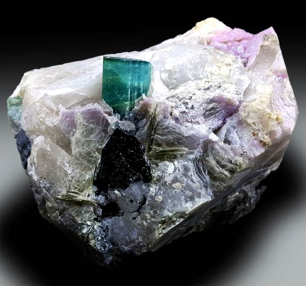 Tourmaline Crystal with Pink Apatite , Quartz and Mica Combo Specimen - 3118 g , 160*141*05 mm